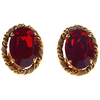 Alice Joseph Vintage 1960S Christian Dior Red Stone Clip On Earrings Gold