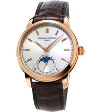 Frederique Constant Fc715v4h4 Moonphase Rose Gold Plated And Leather Watch White