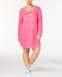 By Jennifer Moore Plus Size Graphic Print Sleepshirt And Socks Set Only At Macy's Pink Naughty And Nice