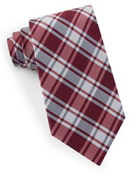 Lord And Taylor Plaid Silk Tie Red