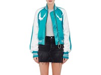 Off White Women's Embroidered Satin Bomber Jacket Blue