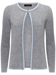 Jaeger Cashmere Tipped Cardigan Light Grey