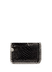 Stella Mccartney 'Falabella' Chain Border Snake Effect Card Holder Black Animal Print
