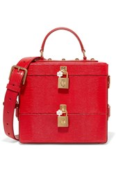 Dolce And Gabbana Embellished Glossed Lizard Effect Leather Vanity Case Red