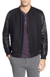 Vince Leather Sleeve Zip Front Bomber Black