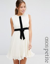 Asos Petite Occasion Pleat Skater Dress With Contrast Bow Cream