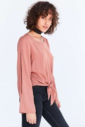 Silence And Noise Dani Split Sleeve Tie Front Blouse Pink