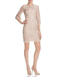 Aidan Mattox Embroidered V Back Dress Champagne
