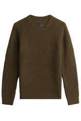 Vince Wool Cashmere Waffle Knit Pullover Green