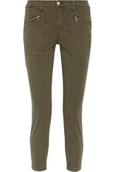 J Brand Genesis Stretch Cotton Twill Skinny Pants Army Green