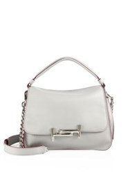 Tod's Double T Leather Messenger Bag Light Grey