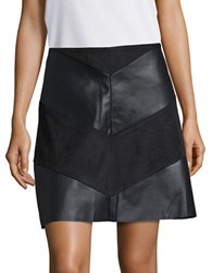 Design Lab Lord And Taylor Leatherette Faux Suede Skirt Black