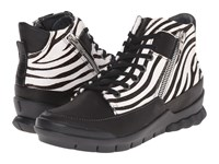 Wolky Fast Black Velvet Leather Zebra Women's Lace Up Boots