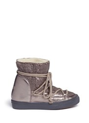 Inuikii Sheepskin Shearling Cable Knit Wedge Sneaker Moon Boots Metallic