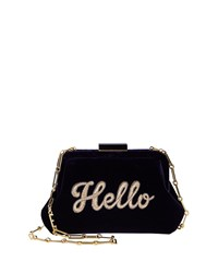 Edie Parker Lauren Hello Embroidered Velvet Shoulder Bag Navy