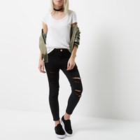 River Island Womens Petite Black Ripped Molly Jeggings