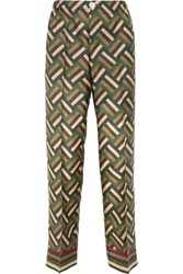 F.R.S For Restless Sleepers Printed Silk Twill Wide Leg Pants Green