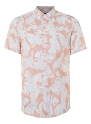 Topman Pink And White Leaf Print Viscose Short Sleeve Casual Shirt