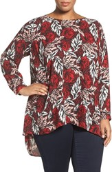 Vince Camuto Plus Size Women's 'Woodland Floral' High Low Blouse