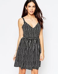 Style London Skater Dress In Blurred Stripe Print Black