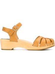 Swedish Hasbeens Cross Strap 'Debutant' Sandals Nude And Neutrals