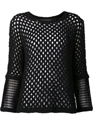 Yigal Azrouel Pointelle Knit Top Black