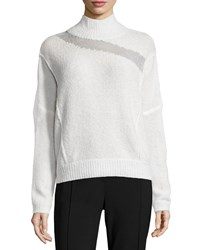 Elie Tahari Della Mock Neck Boucle Sweater Antiqque