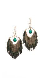 Theia Jewelry Modern Three Layer Tassel Earrings Antique Gold Green Emerald