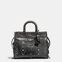 Coach Western Rivets Rogue Bag In Pebble Leather Black Copper Black