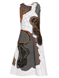 Bottega Veneta Abstract Applique Sleeveless Dress White Multi