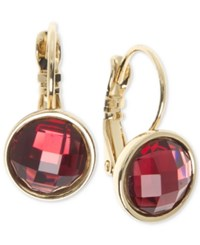 Nine West Faceted Stone Drop Earrings Red