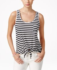 Pretty Rebellious Juniors' High Low Tie Front Tank Top White Black