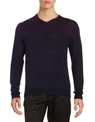 Black Brown Striped V Neck Sweater Plum