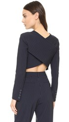 Dkny Long Sleeve Cropped Shirt With Crossed Back Classic Navy White