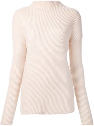 Nomia Asymmetric Turtleneck Pullover Nude And Neutrals