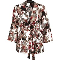 River Island Womens Red Paisley Print Belted Jacket