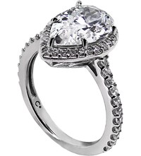 Carat Pear 3Ct Borderset Ring White