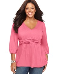 Ny Collection Plus Size Three Quarter Sleeve Ruched Empire Waist Top