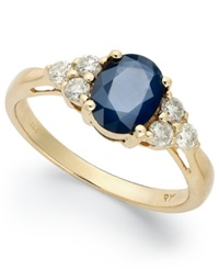Macy's 14K Gold Ring Sapphire 1 1 2 Ct. T.W. And Diamond 1 3 Ct. T.W. Oval Ring Blue