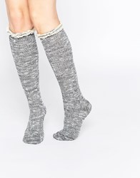 Abs By Allen Schwartz Abs Knee Boot Socks In Crochet Lace Light Gray