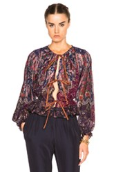 Etro Josephine Blouse In Purple Floral Abstract