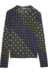 Bottega Veneta Printed Cashmere And Silk Blend Cardigan Blue