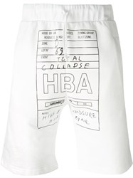 Hood By Air Logo Print Drawstring Shorts White