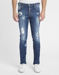 Dsquared Blue Cool Guy Destroy Patched Jeans