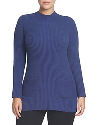 Chaus Ribbed Mockneck Sweater Navy League