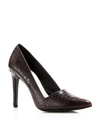 Alice Olivia Dina Snake Embossed Pointed Pumps Bordeaux
