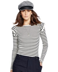 Polo Ralph Lauren Ruffle Trim Striped Silk Top