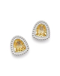 Judith Ripka Sterling Silver Margot Stud Earrings With Canary Crystal Yellow Silver