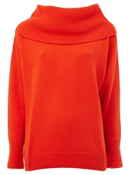 Maison Ullens Wide Collar Knitted Sweater Yellow And Orange