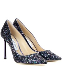 Jimmy Choo Romy 100 Glitter Pumps Purple